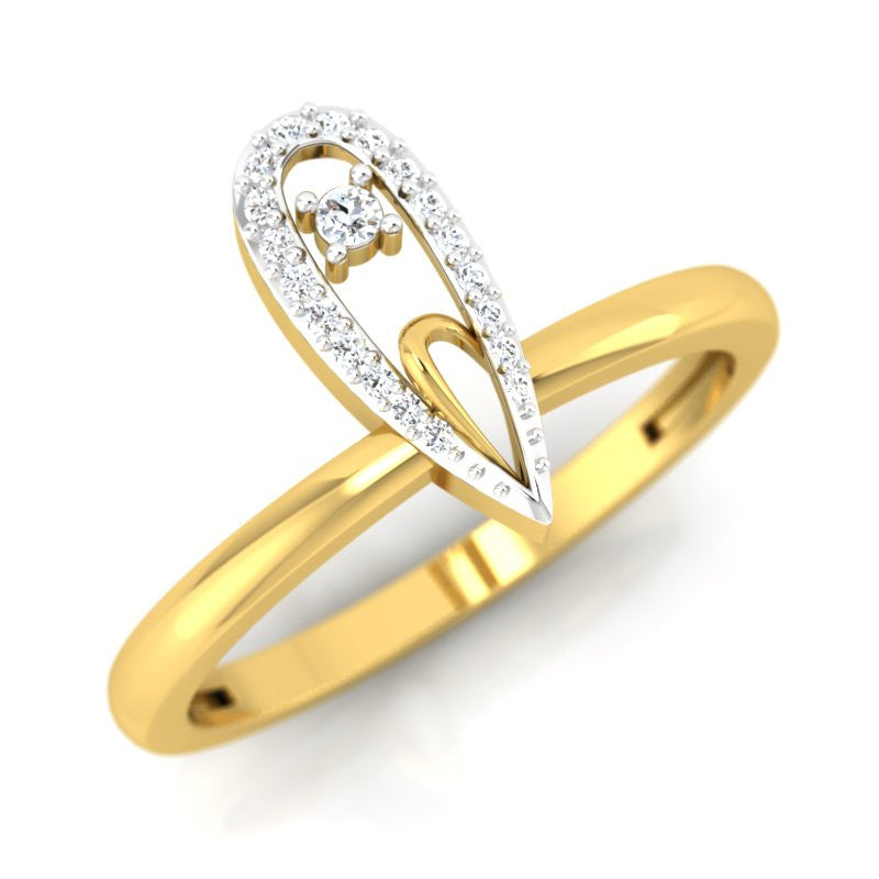 diamond studded gold jewellery - Kaitlan Casual Ring - Pristine Fire - 1
