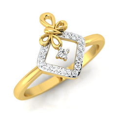 diamond studded gold jewellery - Malvina Fashion Ring - Pristine Fire - 1