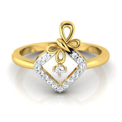 diamond studded gold jewellery - Malvina Fashion Ring - Pristine Fire - 2