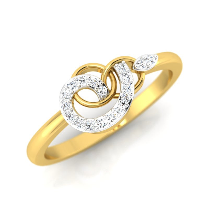 diamond studded gold jewellery - Emmily Casual Ring - Pristine Fire - 1