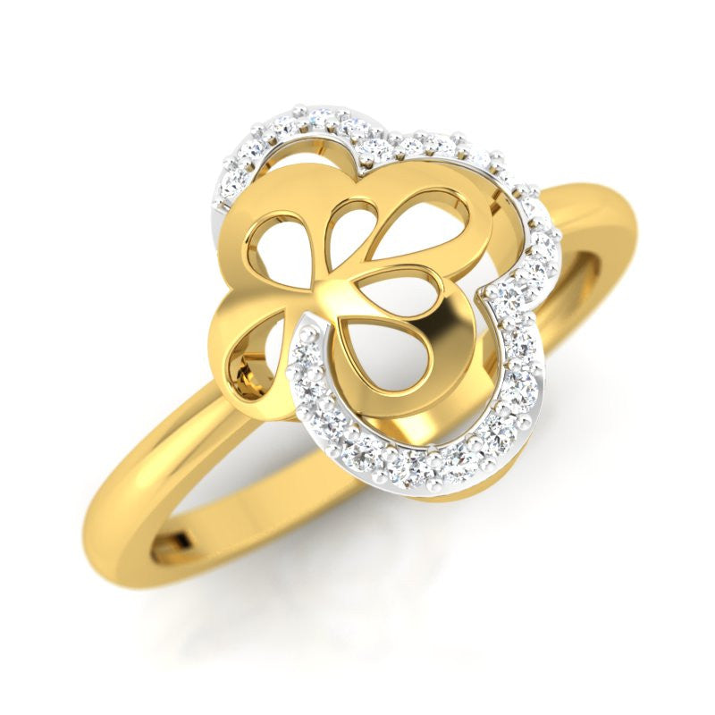 diamond studded gold jewellery - Takeisha Fashion Ring - Pristine Fire - 1