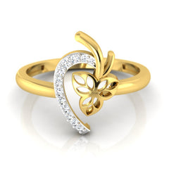 diamond studded gold jewellery - Damonica Fashion Ring - Pristine Fire - 2