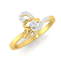 diamond studded gold jewellery - Mallorie Casual Ring - Pristine Fire - 1