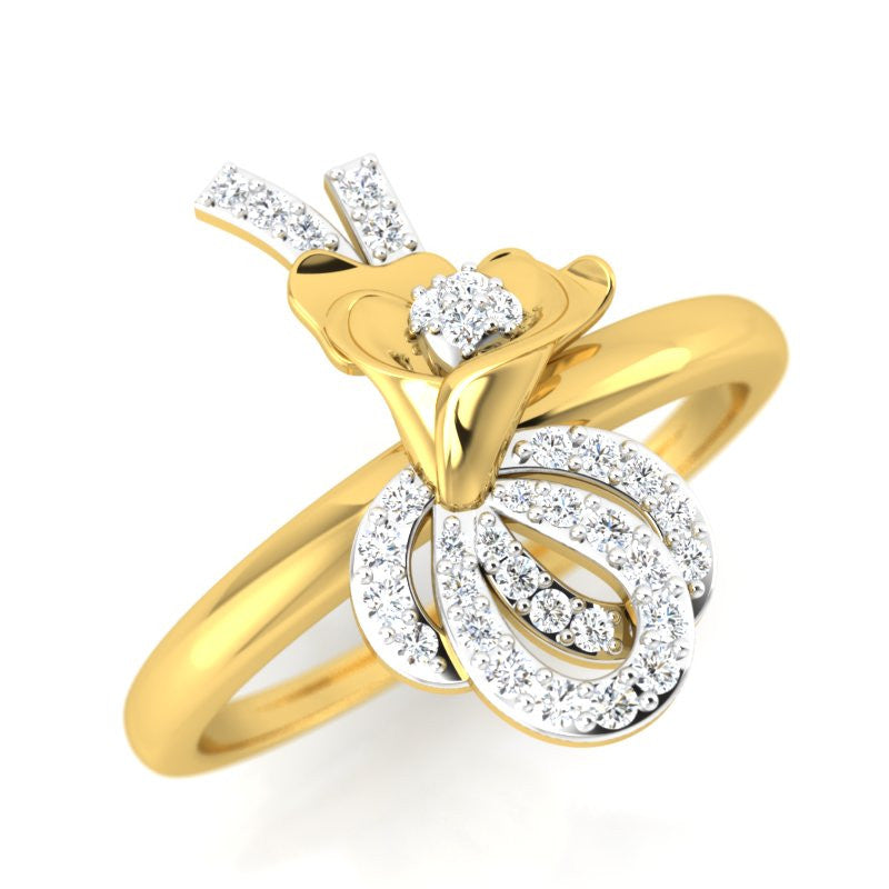 diamond studded gold jewellery - Joselyne Fashion Ring - Pristine Fire - 1