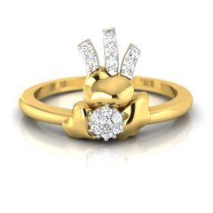 diamond studded gold jewellery - Annmaria Casual Ring - Pristine Fire - 2