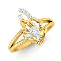 diamond studded gold jewellery - Servia Fashion Ring - Pristine Fire - 1