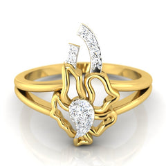 diamond studded gold jewellery - Servia Fashion Ring - Pristine Fire - 2