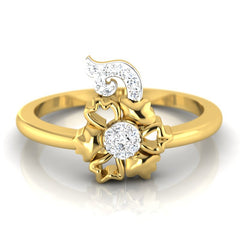 diamond studded gold jewellery - Bibi Casual Ring - Pristine Fire - 2