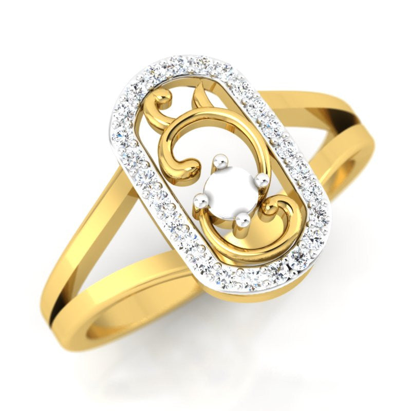 diamond studded gold jewellery - Chaylea Fashion Ring - Pristine Fire - 1