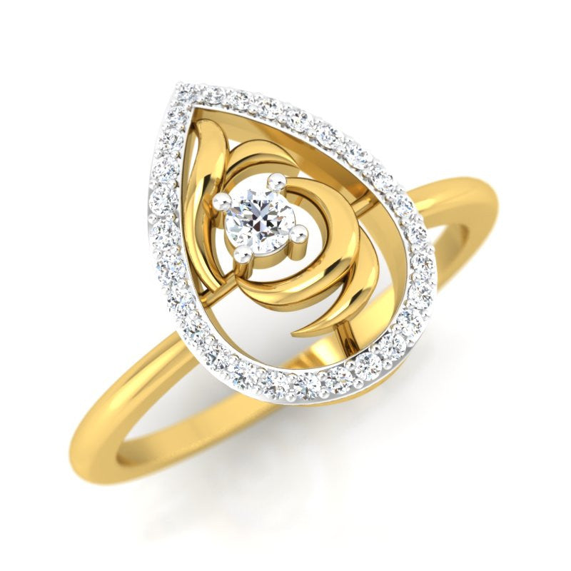 diamond studded gold jewellery - Landyn Casual Ring - Pristine Fire - 1