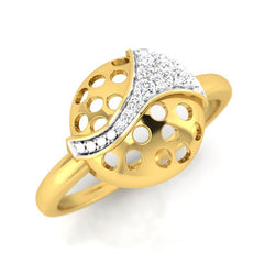 diamond studded gold jewellery - Cira Fashion Ring - Pristine Fire - 1