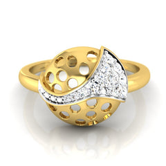 diamond studded gold jewellery - Cira Fashion Ring - Pristine Fire - 2