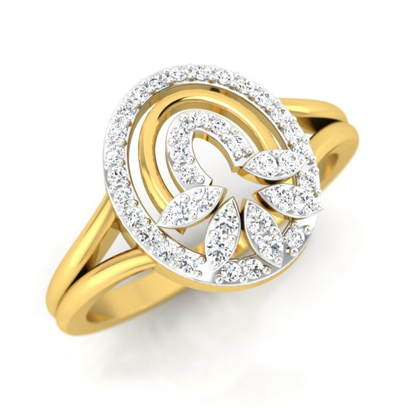 diamond studded gold jewellery - Josianne Casual Ring - Pristine Fire - 1