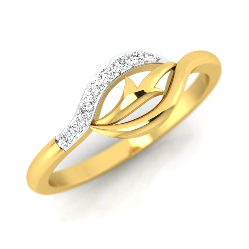 diamond studded gold jewellery - Lamesha Casual Ring - Pristine Fire - 1