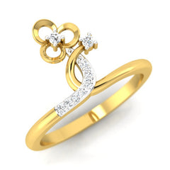 diamond studded gold jewellery - Asia Fashion Ring - Pristine Fire - 1