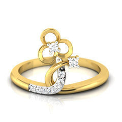 diamond studded gold jewellery - Asia Fashion Ring - Pristine Fire - 2