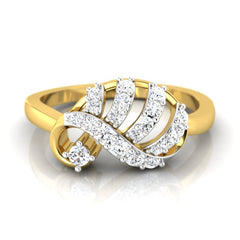 diamond studded gold jewellery - Ada Casual Ring - Pristine Fire - 2