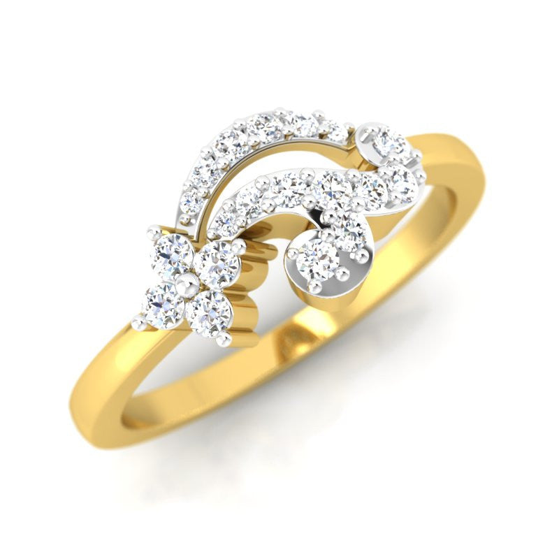 diamond studded gold jewellery - Aki Casual Ring - Pristine Fire - 1