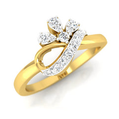 diamond studded gold jewellery - Aly Casual Ring - Pristine Fire - 1