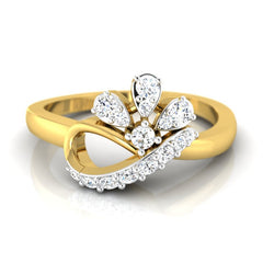 diamond studded gold jewellery - Aly Casual Ring - Pristine Fire - 2