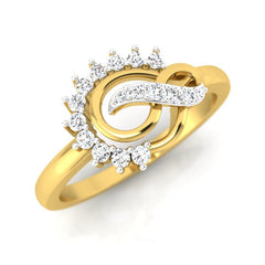 diamond studded gold jewellery - Ann Casual Ring - Pristine Fire - 1