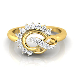 diamond studded gold jewellery - Ann Casual Ring - Pristine Fire - 2