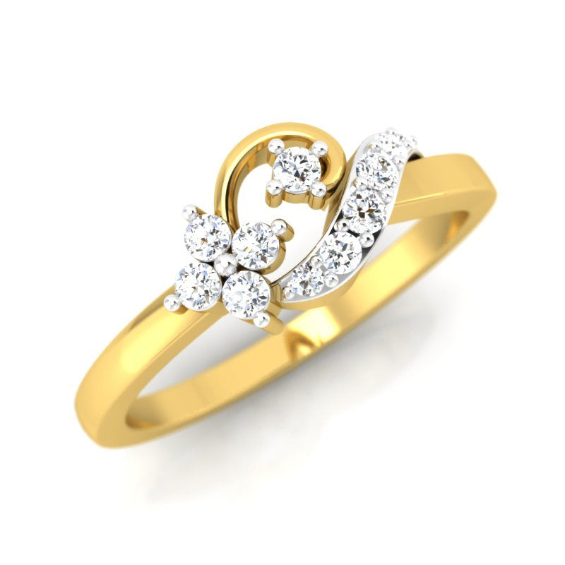diamond studded gold jewellery - Ela Casual Ring - Pristine Fire - 1
