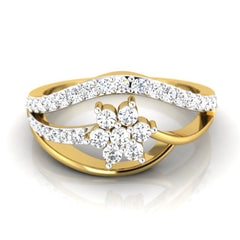 diamond studded gold jewellery - Ida Casual Ring - Pristine Fire - 2