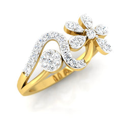 diamond studded gold jewellery - Ira Casual Ring - Pristine Fire - 1