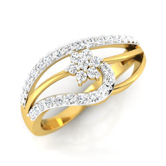 diamond studded gold jewellery - Iva Casual Ring - Pristine Fire - 1