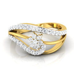 diamond studded gold jewellery - Iva Casual Ring - Pristine Fire - 2