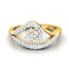 diamond studded gold jewellery - Kim Casual Ring - Pristine Fire - 2