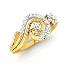 diamond studded gold jewellery - Lia Casual Ring - Pristine Fire - 1