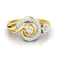 diamond studded gold jewellery - Lia Casual Ring - Pristine Fire - 2