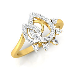 diamond studded gold jewellery - Liz Casual Ring - Pristine Fire - 1