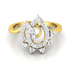 diamond studded gold jewellery - Liz Casual Ring - Pristine Fire - 2