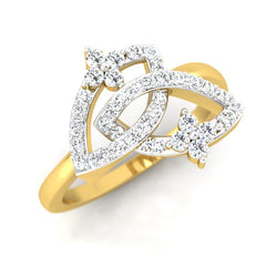 diamond studded gold jewellery - Ode Fashion Ring - Pristine Fire - 1