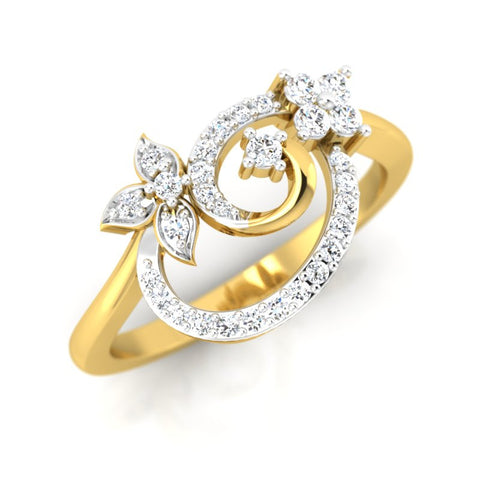 diamond studded gold jewellery - Sue Casual Ring - Pristine Fire - 1