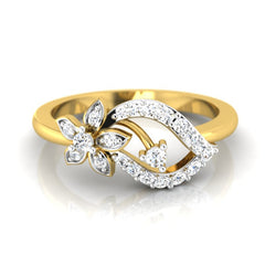 diamond studded gold jewellery - Tia Casual Ring - Pristine Fire - 2