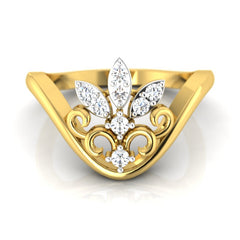 diamond studded gold jewellery - Zoe Casual Ring - Pristine Fire - 2