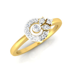 diamond studded gold jewellery - Adya Casual Ring - Pristine Fire - 1