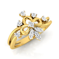 diamond studded gold jewellery - Alba Casual Ring - Pristine Fire - 1