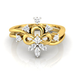 diamond studded gold jewellery - Alba Casual Ring - Pristine Fire - 2