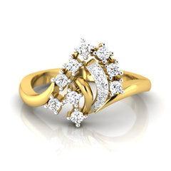 diamond studded gold jewellery - Ally Casual Ring - Pristine Fire - 2