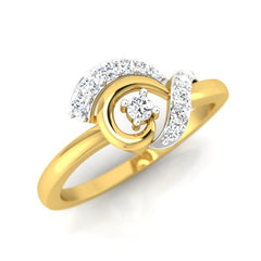 diamond studded gold jewellery - Amee Casual Ring - Pristine Fire - 1