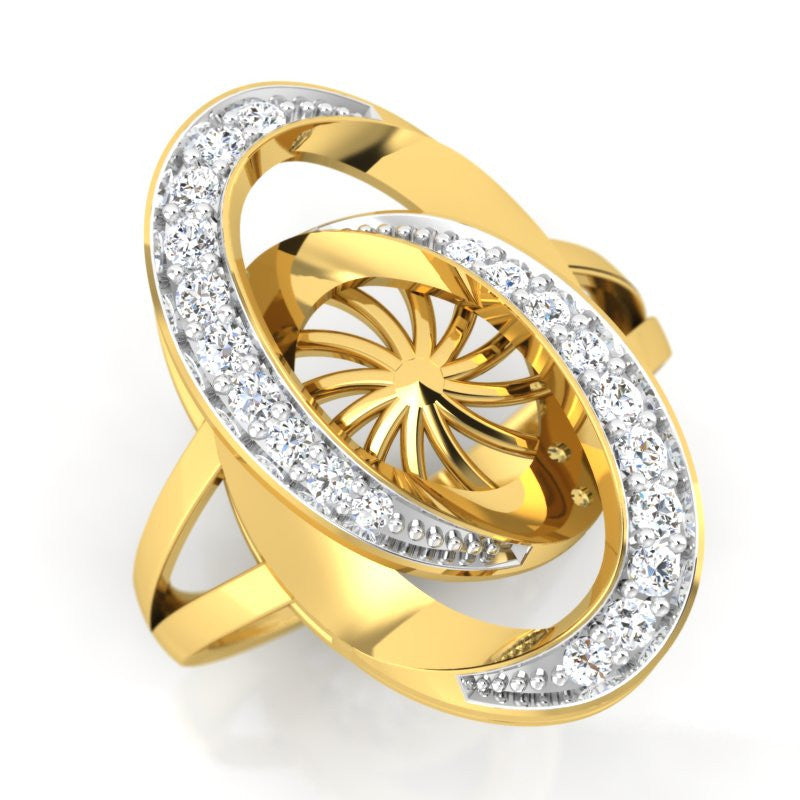 diamond studded gold jewellery - Abequa Cocktail Ring - Pristine Fire - 1