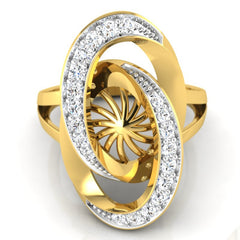 diamond studded gold jewellery - Abequa Cocktail Ring - Pristine Fire - 2