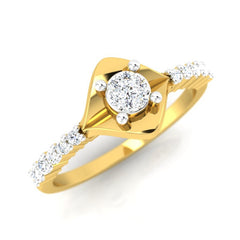 diamond studded gold jewellery - Abida Engagement Ring - Pristine Fire - 1