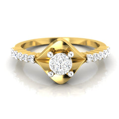 diamond studded gold jewellery - Abida Engagement Ring - Pristine Fire - 2