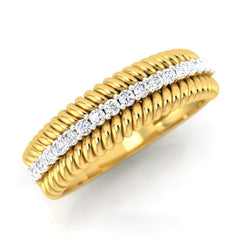 diamond studded gold jewellery - Adabella Band Ring - Pristine Fire - 1